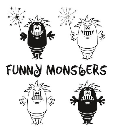 Set of Cute Different Cartoon Monsters, Black Contour and Silhouette Characters with Sparklers, Elements for your Design, Prints and Banners, Isolated on White Background. Vector Stock Photo - Budget Royalty-Free & Subscription, Code: 400-08652866