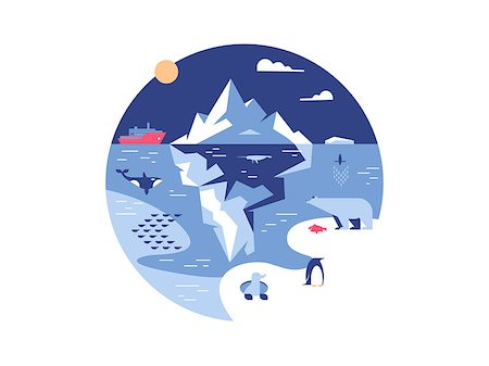 Iceberg in sea or ocean. Antarctic environment and ice mountain in water. Vector illustration Stock Photo - Budget Royalty-Free & Subscription, Code: 400-08653272