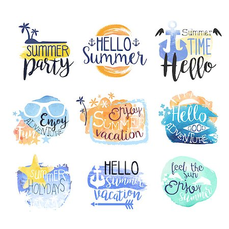simsearch:400-04638538,k - Summer Beach Vacation Promo Signs Colorful Set Of Watercolor Stylized Logo With Text On White Background Stock Photo - Budget Royalty-Free & Subscription, Code: 400-08653716