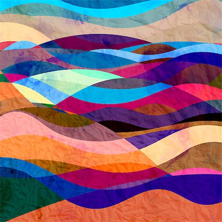 simsearch:400-04638538,k - Retro Bright watercolor background with different waves Stock Photo - Budget Royalty-Free & Subscription, Code: 400-08669138