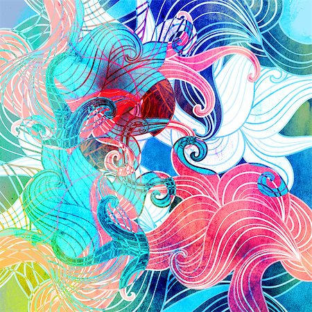 simsearch:400-04638538,k - Retro Bright watercolor background with different abstract elements Stock Photo - Budget Royalty-Free & Subscription, Code: 400-08669139