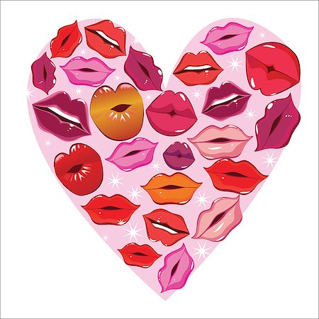 simsearch:400-04801287,k - Vector lip heart, print valentine kiss, romantic background. Design element. Stock Photo - Budget Royalty-Free & Subscription, Code: 400-08674142