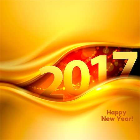 2017 Happy New Year background with gold wave. Vector illustration Stock Photo - Budget Royalty-Free & Subscription, Code: 400-08674188