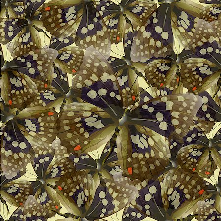 Seamless pattern from butterflies, vector illustration, clip-art Stock Photo - Budget Royalty-Free & Subscription, Code: 400-08674294