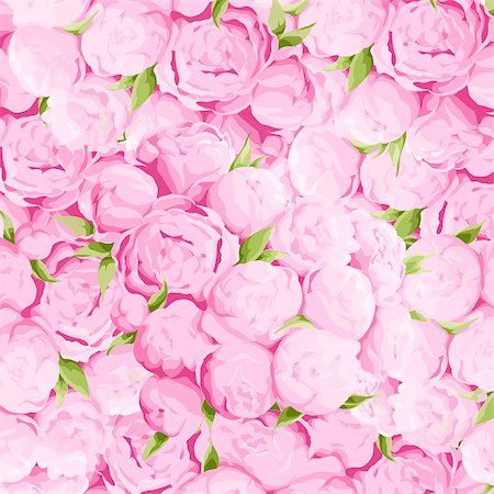 peony in vector - Bright colorful peonies background with green leaves Stock Photo - Budget Royalty-Free & Subscription, Code: 400-08676536