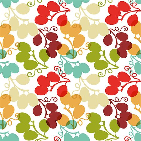 seamless floral - Seamless Pattern with Grape, vector illustration, can be used for wallpaper, web page background, greeting cards, poster, fabric print Stock Photo - Budget Royalty-Free & Subscription, Code: 400-08676531