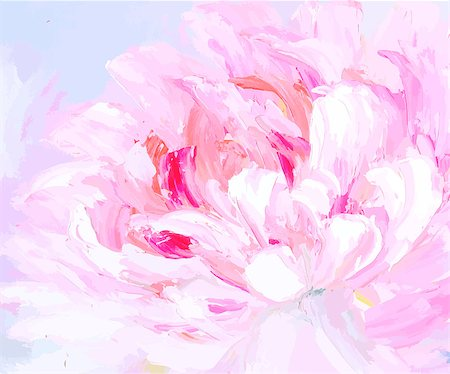 paintings of peonies - Original abstract hand drawn oil painting background. Floral vector illustration. Bright flower Stock Photo - Budget Royalty-Free & Subscription, Code: 400-08676755