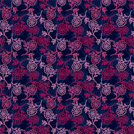 peony in vector - dark blue seamless pattern with pink abstract peony flowers. vector Stock Photo - Budget Royalty-Free & Subscription, Code: 400-08676900