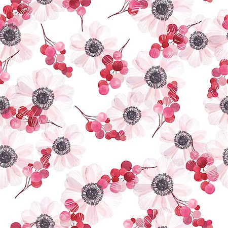 Seamless pattern with anemones and branches of red berries in vintage watercolor style, vector illustration. Stock Photo - Budget Royalty-Free & Subscription, Code: 400-08676961