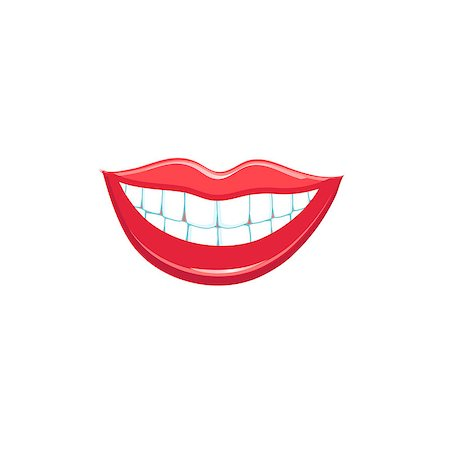 Beautiful smile lips isolated on white background. Vector illustration Stock Photo - Budget Royalty-Free & Subscription, Code: 400-08676981
