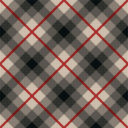seamless - Diagonal seamless vector fabric pattern in gray color with soft muted hues and with red lines Stock Photo - Budget Royalty-Free & Subscription, Code: 400-08677899