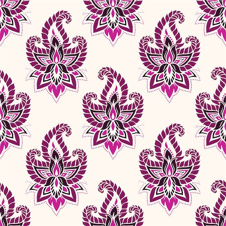seamless floral - Seamless pattern based on traditional Asian elements Paisley. Boho vintage style vector background. Best motive for print on fabric or papper. Stock Photo - Budget Royalty-Free & Subscription, Code: 400-08677967