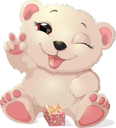 simsearch:400-04598294,k - beautiful white bear with a gift with ribbons Stock Photo - Budget Royalty-Free & Subscription, Code: 400-08678027