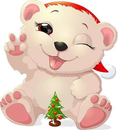 simsearch:400-04598294,k - beautiful white bear with a gift Christmas tree Stock Photo - Budget Royalty-Free & Subscription, Code: 400-08678028