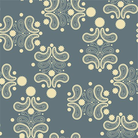 seamless floral - Gray and yellow seamless pattern with Paisley print. Vector illustration Stock Photo - Budget Royalty-Free & Subscription, Code: 400-08678256