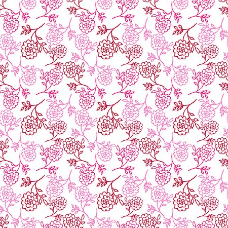 peony design vector - white seamless pattern with pink abstract peony flowers. vector Stock Photo - Budget Royalty-Free & Subscription, Code: 400-08678328