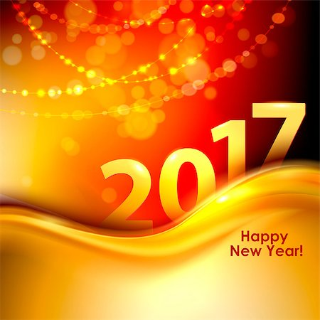 2017 Happy New Year background with gold wave. Vector illustration Stock Photo - Budget Royalty-Free & Subscription, Code: 400-08679022