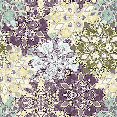 seamless floral - Boho style flower seamless pattern. Tiled mandala design, best for print fabric or papper and more. Stock Photo - Budget Royalty-Free & Subscription, Code: 400-08679191