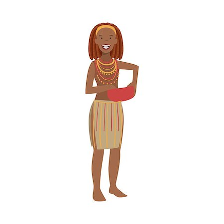 Woman With Red Hair From African Native Tribe Simplified Cartoon Style Flat Vector Illustration Isolated On White Background Stock Photo - Budget Royalty-Free & Subscription, Code: 400-08679506