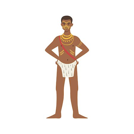 Man In Loincloth From African Native Tribe Simplified Cartoon Style Flat Vector Illustration Isolated On White Background Stock Photo - Budget Royalty-Free & Subscription, Code: 400-08679508