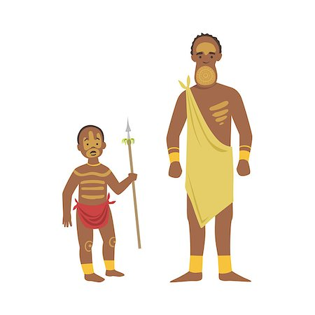 Man And Boy From African Native Tribe Simplified Cartoon Style Flat Vector Illustration Isolated On White Background Stock Photo - Budget Royalty-Free & Subscription, Code: 400-08679509