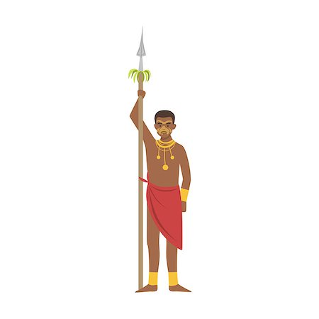 Warrior With Spear From African Native Tribe Simplified Cartoon Style Flat Vector Illustration Isolated On White Background Stock Photo - Budget Royalty-Free & Subscription, Code: 400-08679515