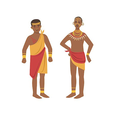 TwoMen In Loincloth From African Native Tribe Simplified Cartoon Style Flat Vector Illustration Isolated On White Background Stock Photo - Budget Royalty-Free & Subscription, Code: 400-08679516