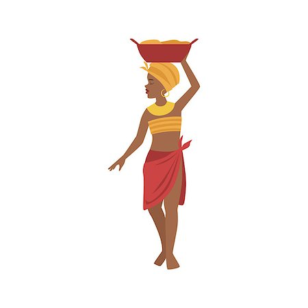Woman With Basin On Head From African Native Tribe Simplified Cartoon Style Flat Vector Illustration Isolated On White Background Stock Photo - Budget Royalty-Free & Subscription, Code: 400-08679510