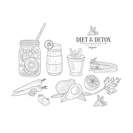 Fruit And Vegetables Diet Hand Drawn Realistic Detailed Sketch In Classy Simple Pencil Style On White Background Stock Photo - Budget Royalty-Free & Subscription, Code: 400-08679544