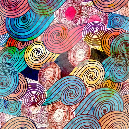 simsearch:400-04638538,k - Retro Bright watercolor background with different abstract elements Stock Photo - Budget Royalty-Free & Subscription, Code: 400-08670023