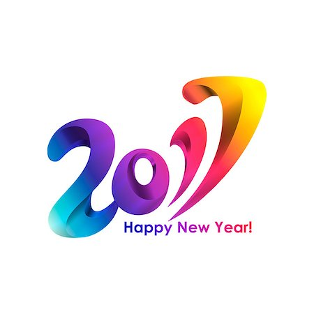 party celebration paper confetti - New Year 2017 celebration background. Happy New Year colorful rainbow digital type on white background. Greeting card template. Vector illustration. Stock Photo - Budget Royalty-Free & Subscription, Code: 400-08671015