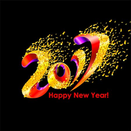 party celebration paper confetti - New Year 2017 celebration background. Happy New Year colorful digital type on black background with confetti. Greeting card template. Vector illustration. Stock Photo - Budget Royalty-Free & Subscription, Code: 400-08671013
