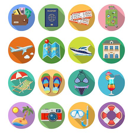 Vacation and Tourism Flat Icons Set with Long Shadow on Circle for Mobile Applications, Web Site, Advertising like Boat, Cocktail, Island, Aircraft and Suitcase. Stock Photo - Budget Royalty-Free & Subscription, Code: 400-08671212