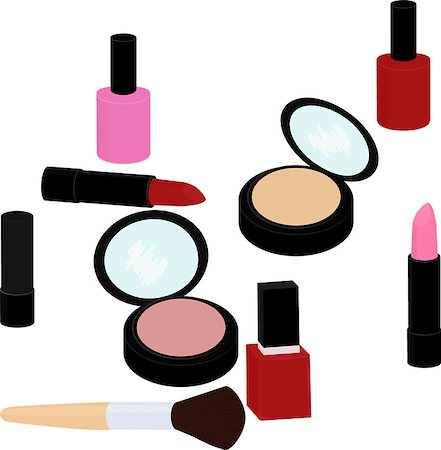 fashion beauty products set, lipstick, nail polish, powder, blush isolated on white Stock Photo - Budget Royalty-Free & Subscription, Code: 400-08671547