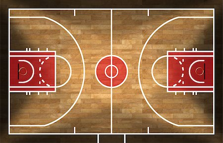 Realistic 3D illustration of a basketball court with wooden floor (parquet) Stock Photo - Budget Royalty-Free & Subscription, Code: 400-08672874