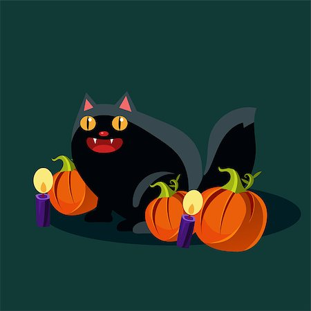 Black cat with candles and pumpkins on Halloween Vector Illustration Stock Photo - Budget Royalty-Free & Subscription, Code: 400-08681405