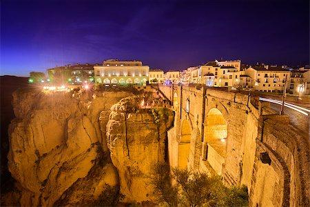 puentes - Ronda, Spain at Puente Nuevo Bridge at night. Stock Photo - Budget Royalty-Free & Subscription, Code: 400-08696795