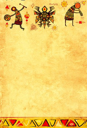 Grunge background with African ethnic patterns and paper texture of yellow color Stock Photo - Budget Royalty-Free & Subscription, Code: 400-08693207