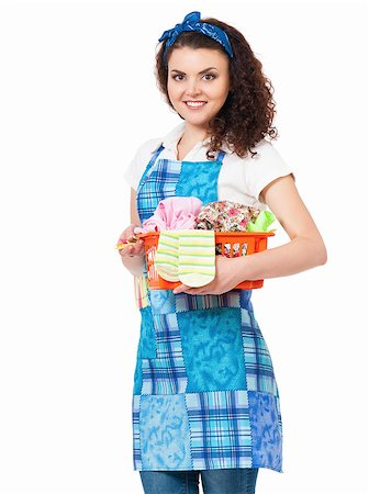 rubber apron woman - Young housewife with laundry basket, isolated on white background Stock Photo - Budget Royalty-Free & Subscription, Code: 400-08693600