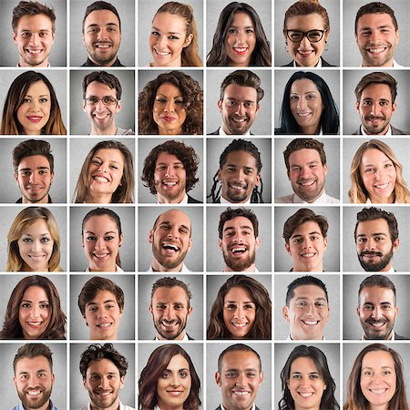 Collage of smiling faces of men and women Stock Photo - Budget Royalty-Free & Subscription, Code: 400-08705683