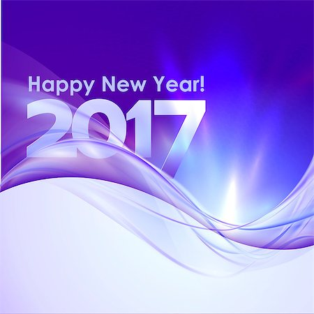 2017 Happy New Year background with blue wave. Vector illustration Stock Photo - Budget Royalty-Free & Subscription, Code: 400-08707301