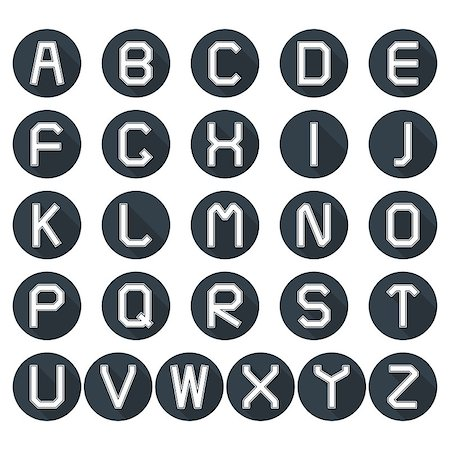 Set of round icons of the Latin alphabet in retro style with long diagonal shadow, vector illustration. Stock Photo - Budget Royalty-Free & Subscription, Code: 400-08707510