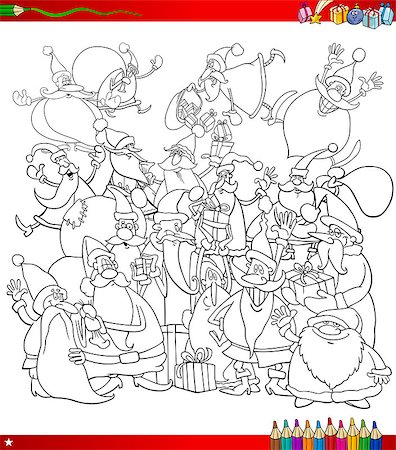 Black and White Cartoon Illustration of Santa Claus Characters Big Group on Christmas Time Coloring Book Stock Photo - Budget Royalty-Free & Subscription, Code: 400-08708560