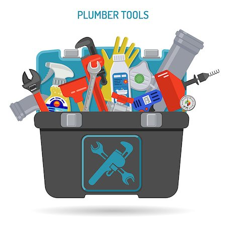 Plumbing Service Concept with Plumber Tools and Toolbox Icons. Isolated vector illustration. Stock Photo - Budget Royalty-Free & Subscription, Code: 400-08709015