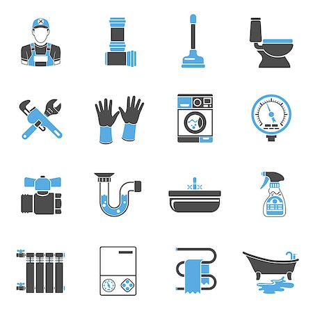 Plumbing Service Two Color Icons Set with Plumber, Device and Tools items. Isolated vector illustration. Stock Photo - Budget Royalty-Free & Subscription, Code: 400-08709020