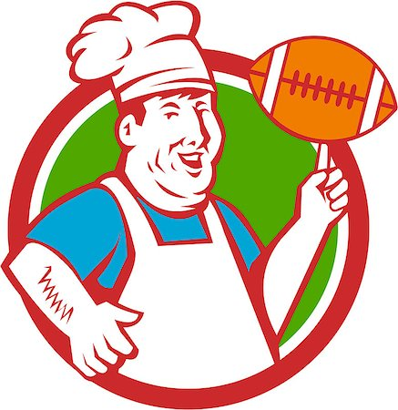 fat man balls - Illustration of a fat chef cook smiling wearing hat and apron twirling football ball viewed from front set inside circle done in retro style. Stock Photo - Budget Royalty-Free & Subscription, Code: 400-08709643