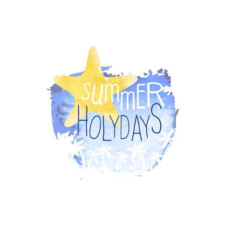 simsearch:400-04638538,k - Summer Holydays Message Watercolor Stylized Label. Bright Color Summer Vacation Hand Drawn Promo Sign. Touristic Agency Vector Ad Template. Stock Photo - Budget Royalty-Free & Subscription, Code: 400-08710083