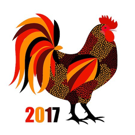 Vector Illustration of Red Fire Rooster, Symbol of 2017 Year on the Chinese Calendar. EPS10 Stock Photo - Budget Royalty-Free & Subscription, Code: 400-08710288
