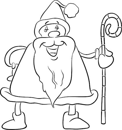 Black and White Cartoon Illustration of Santa Claus with Cane on Christmas Time for Coloring Book Stock Photo - Budget Royalty-Free & Subscription, Code: 400-08710545