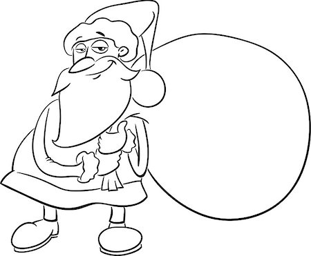Black and White Cartoon Illustration of Santa Claus with Sack of Presents on Christmas for Coloring Book Stock Photo - Budget Royalty-Free & Subscription, Code: 400-08710553